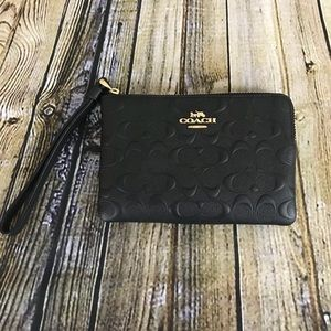 Coach Signature Leather Corner Zip Wristlet Black